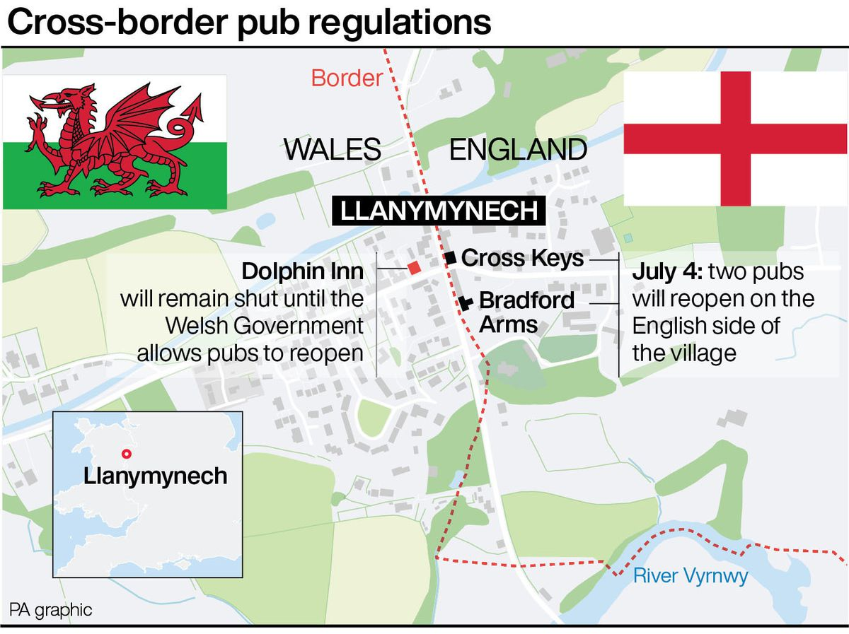 Cross-border pub regulations in Llanymynech. See story HEALTH Coronavirus Llanymynech. Infographic PA Graphics. An editable version of this graphic is available if required. Please contact graphics@pamediagroup.com.