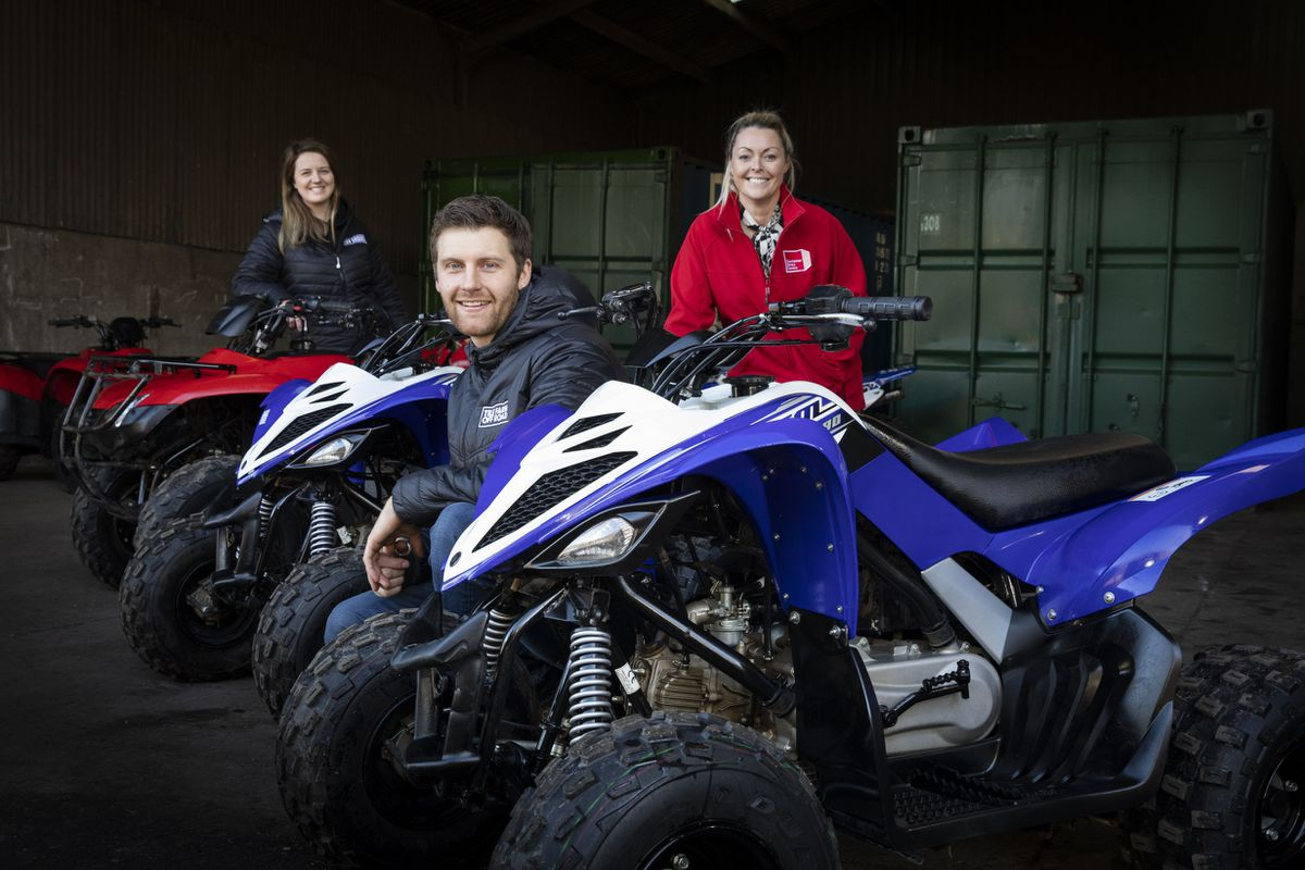Tile Farm Off-Road's Will Bayman and Katie Arden with Lisa James, of Container Sales Centre