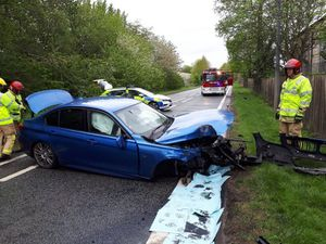 The damaged car after crashing in Telford. Picture: Telford Cops
