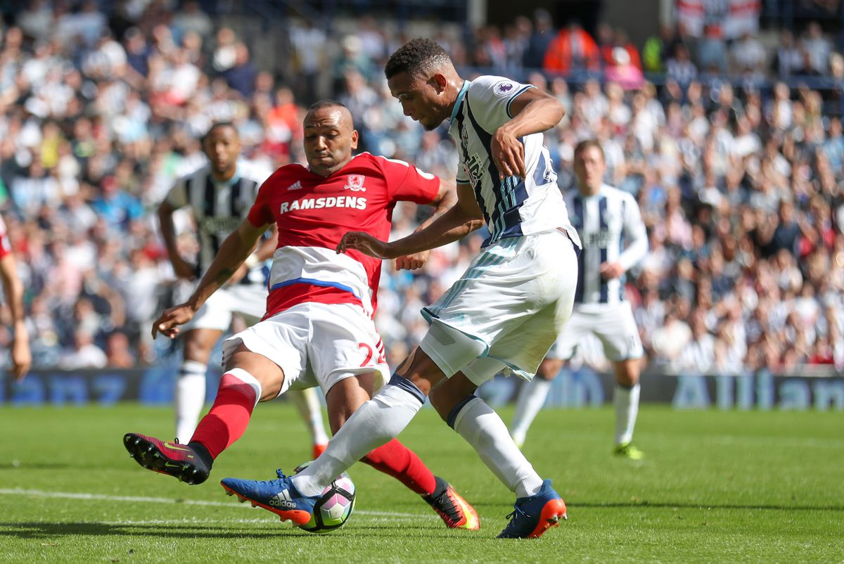 Brendan Galloway of West Bromwich Albion and Emilio Nsue of Middlesbrough.