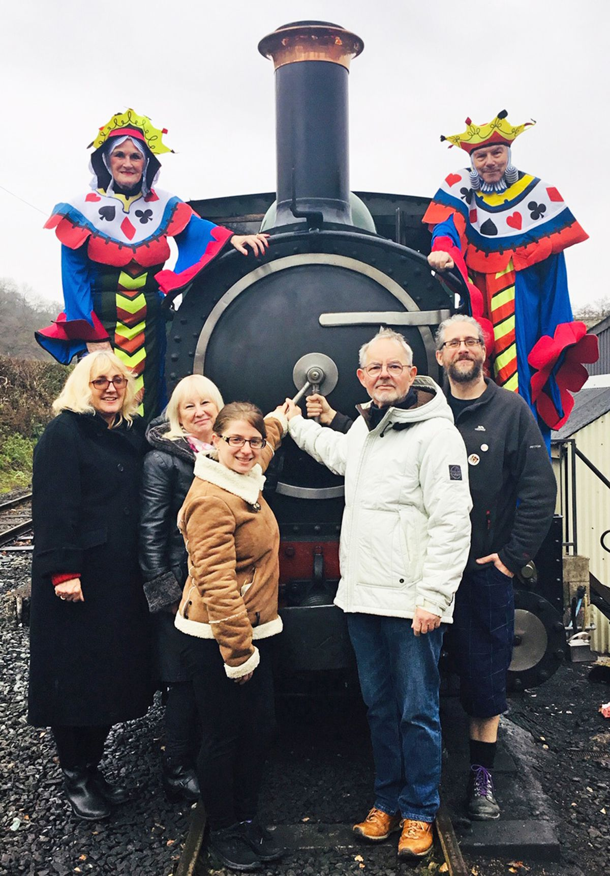 Judith and Stuart Marvin of Montgomeryshire Community Drama Association, Tim Parkes, Alan Bleasdale and Lesley-Ann Bleasdale of Rebel Alliance, Cheryl Walker of British Sign Language, and Julie Ball take to the railway stage before next July's theatre experience. Photo: C Davies