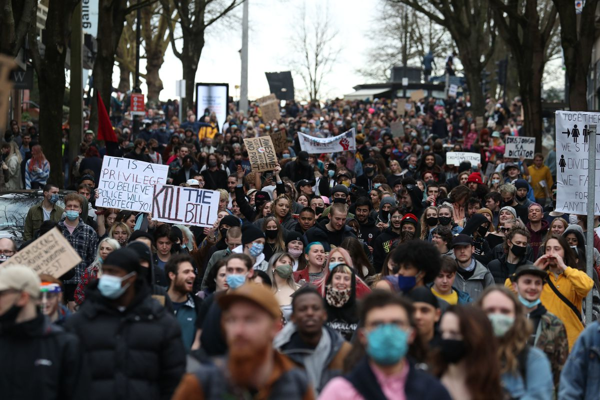 People take part in a 'Kill the Bill' protest in Bristol