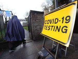 A Covid-19 test centre sign