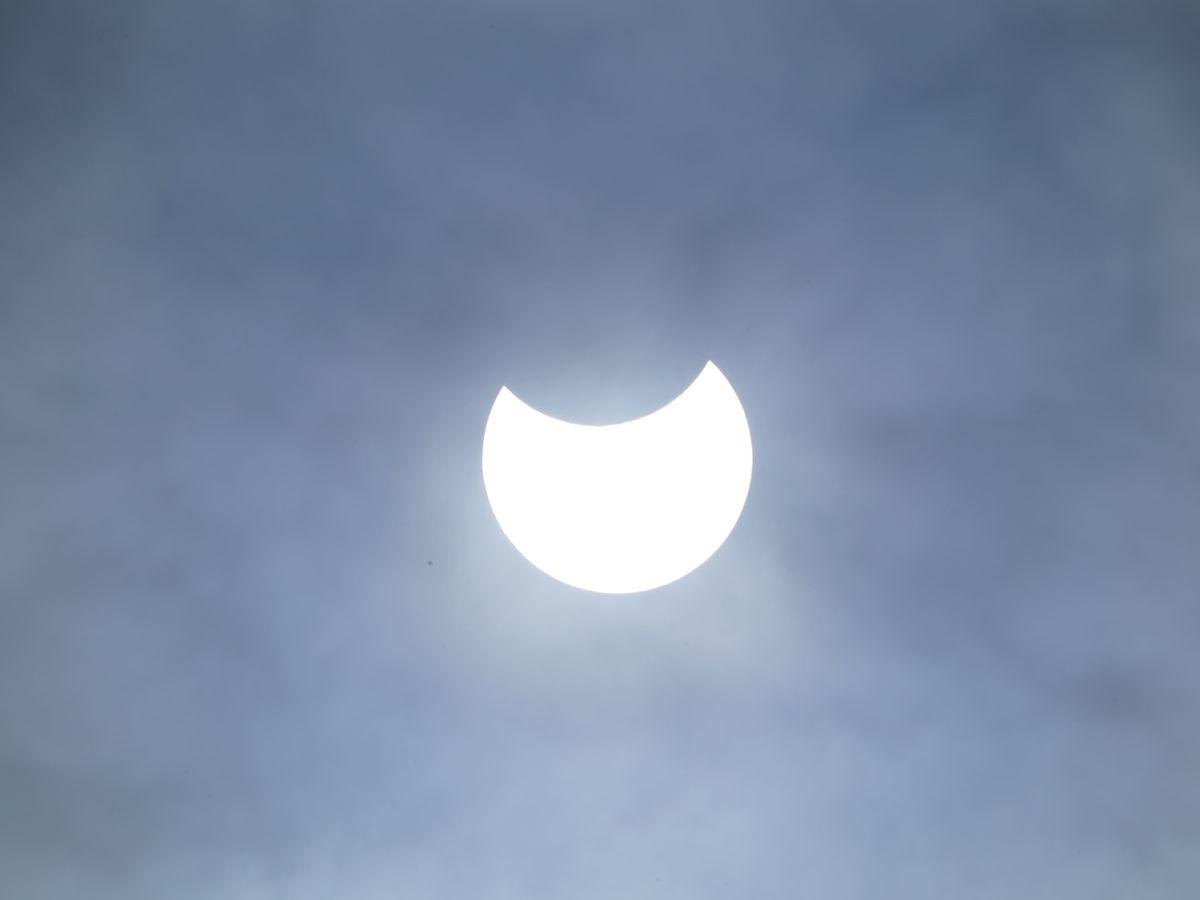 A partial solar eclipse as seen over Liverpool