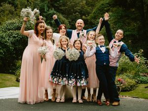 Jenny and Nick Barratt celebrate their wedding with their children