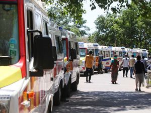 Ambulances carrying Covid-19 patients waiting at a hospital in India