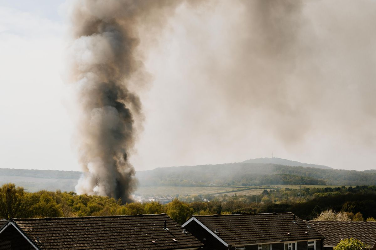 Smoke from the fire could be seen for miles