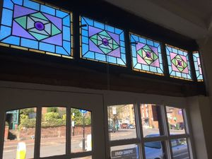 The stained glass windows have been restored