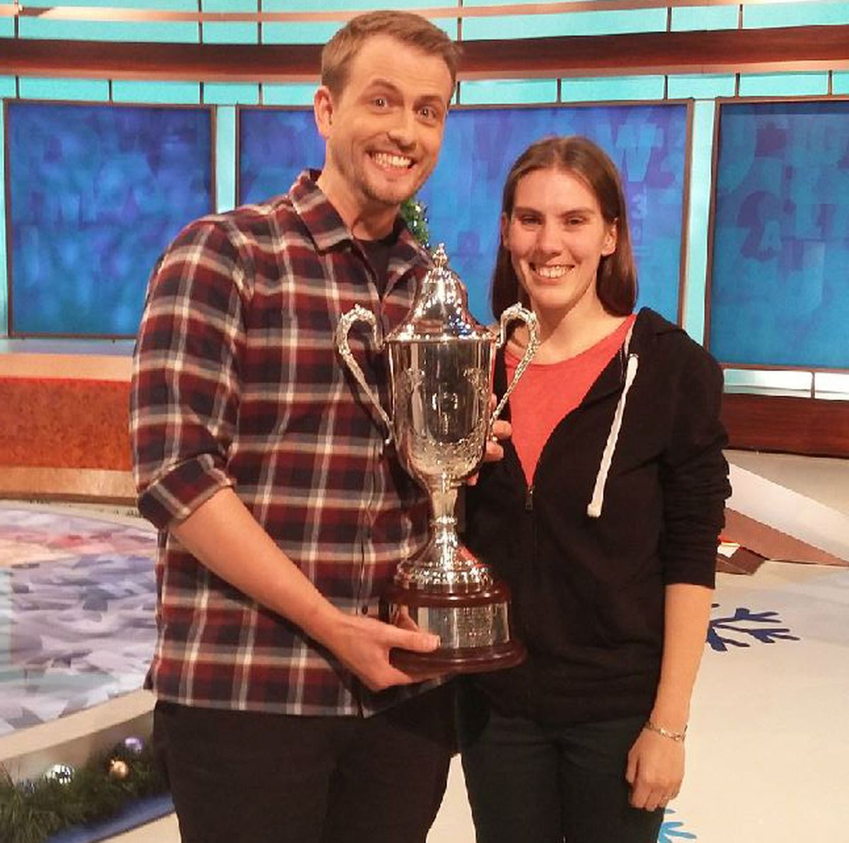 With the Richard Whiteley Memorial Trophy and wife Tamsyn