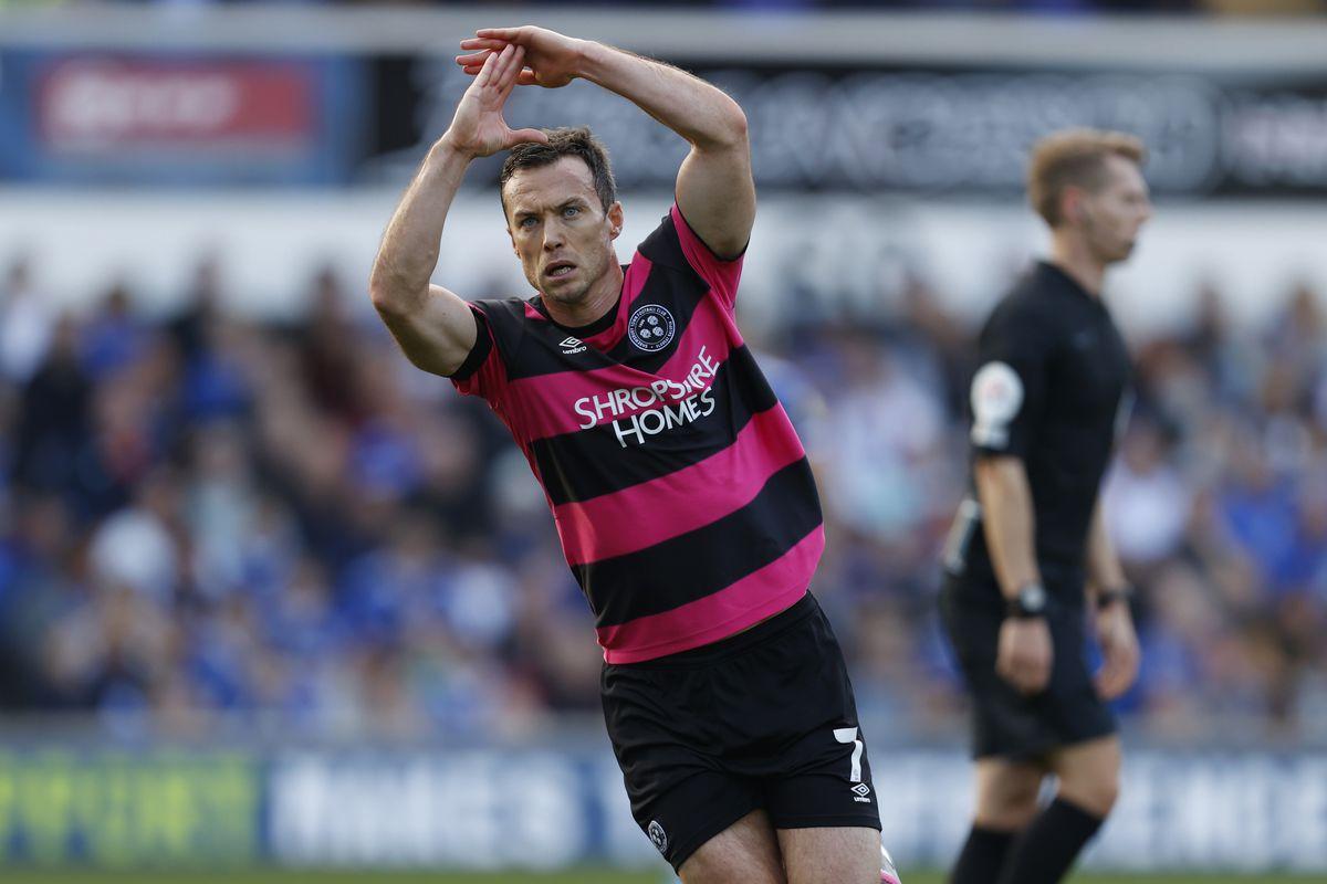 Shaun Whalley of Shrewsbury Town celebrates after scoring a goal to make it 1-1. (AMA)