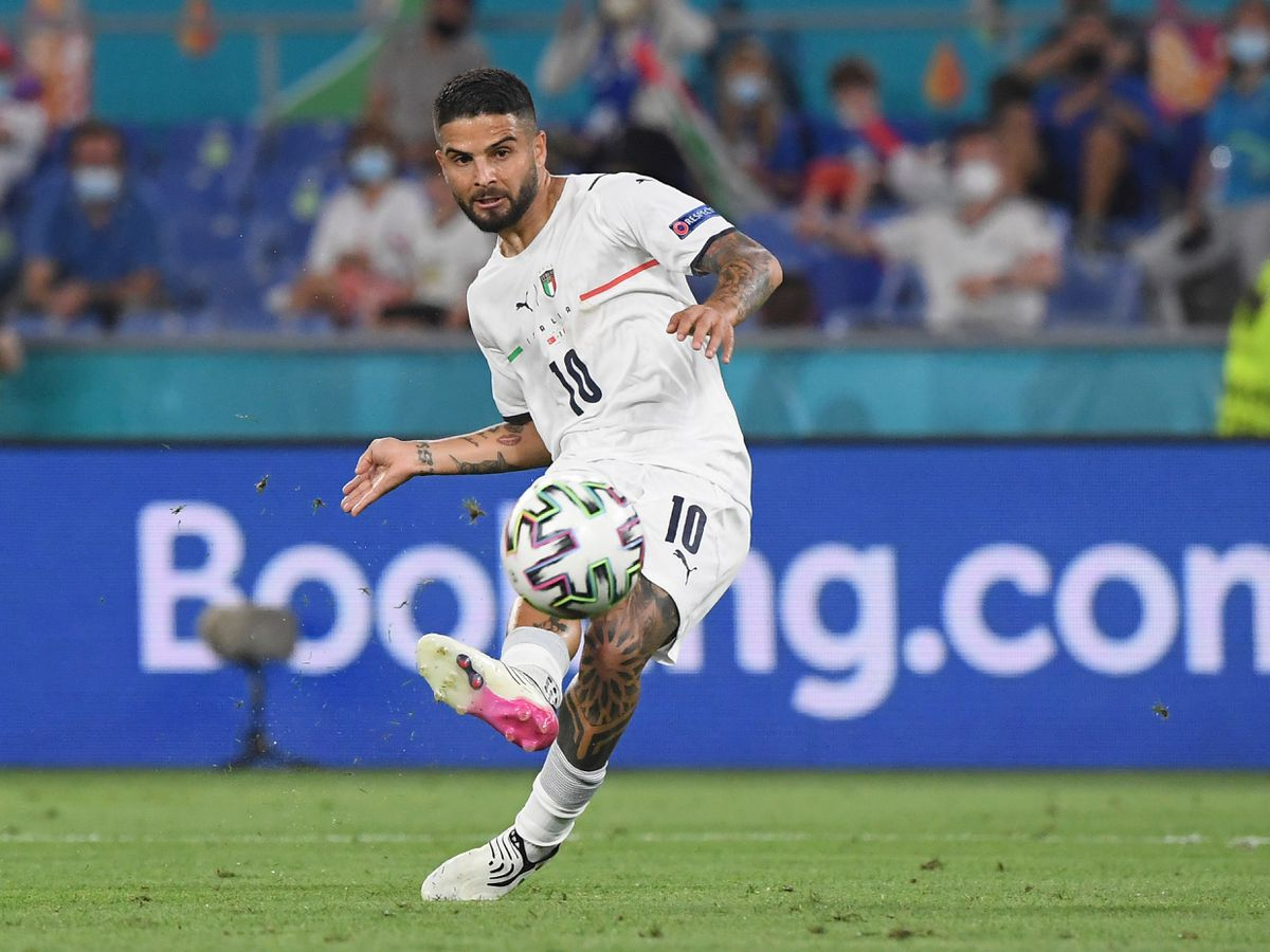Italy's Lorenzo Insigne scores his side's third goal against Turkey in the opening game at Euro 2020