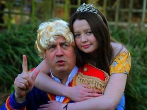 SHREWS PIC / DAVID HAMILTON PIC / SHROPSHIRE STAR PIC 11/3/21 Ready to star in a pantomime online, Will Beavis, as King Boris, and daughter Nancy Beavis, aged 15, as Snow White, both of Wall Under Heywood, appearing in 'Snow White and the Six Dwarfs'..