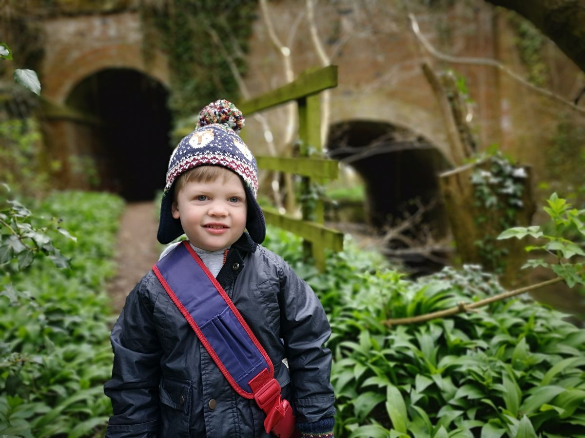Three-year-old William on one of his daily fundraising walks