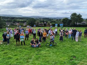Protestors at the meadow earlier this year
