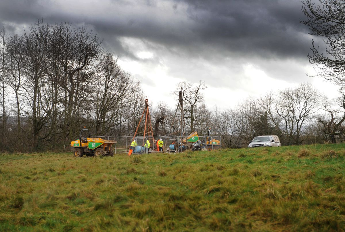 Borehole exploration work for the North Western Relief Road at Shelton Rough, Shrewsbury