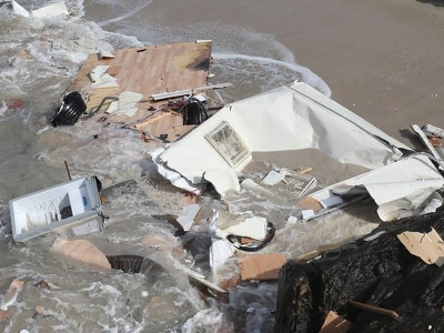 Woman dies after caravan blown off cliff as Storm Ali strikes with 92mph gusts