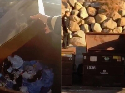 Watch a police officer in California rescue a bear cub from a dumpster