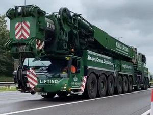 The crane being driven up the M6 ahead of the weekend closure at Junction 10. Photo: Highways England