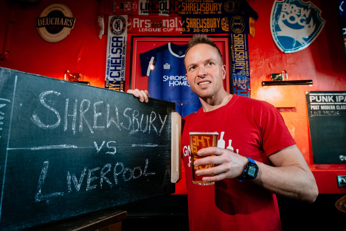Ollie Parry of The Salopian Bar in Shrewsbury which will be one of the pubs in town showing the Shrewsbury vs Liverpool game
