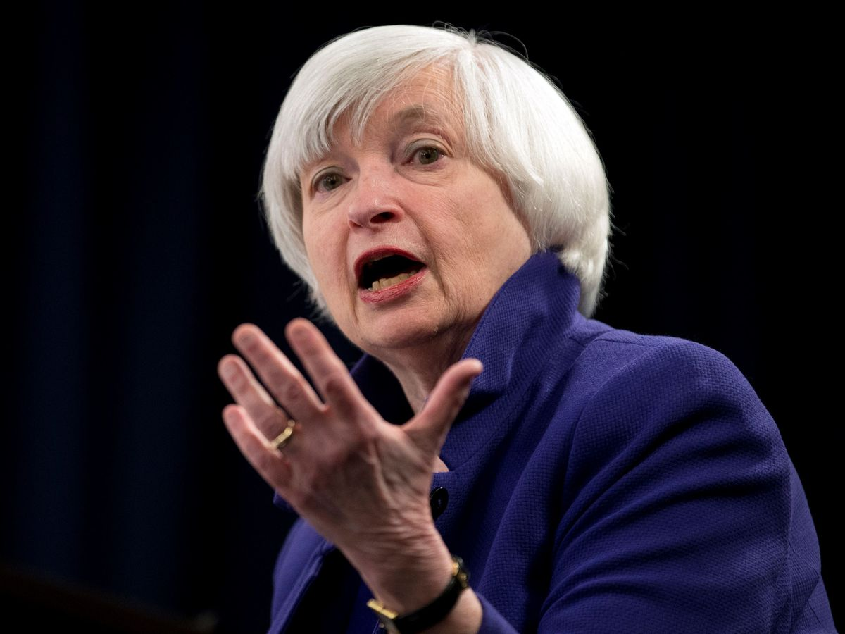 Federal Reserve Chair Janet Yellen speaking during a news conference