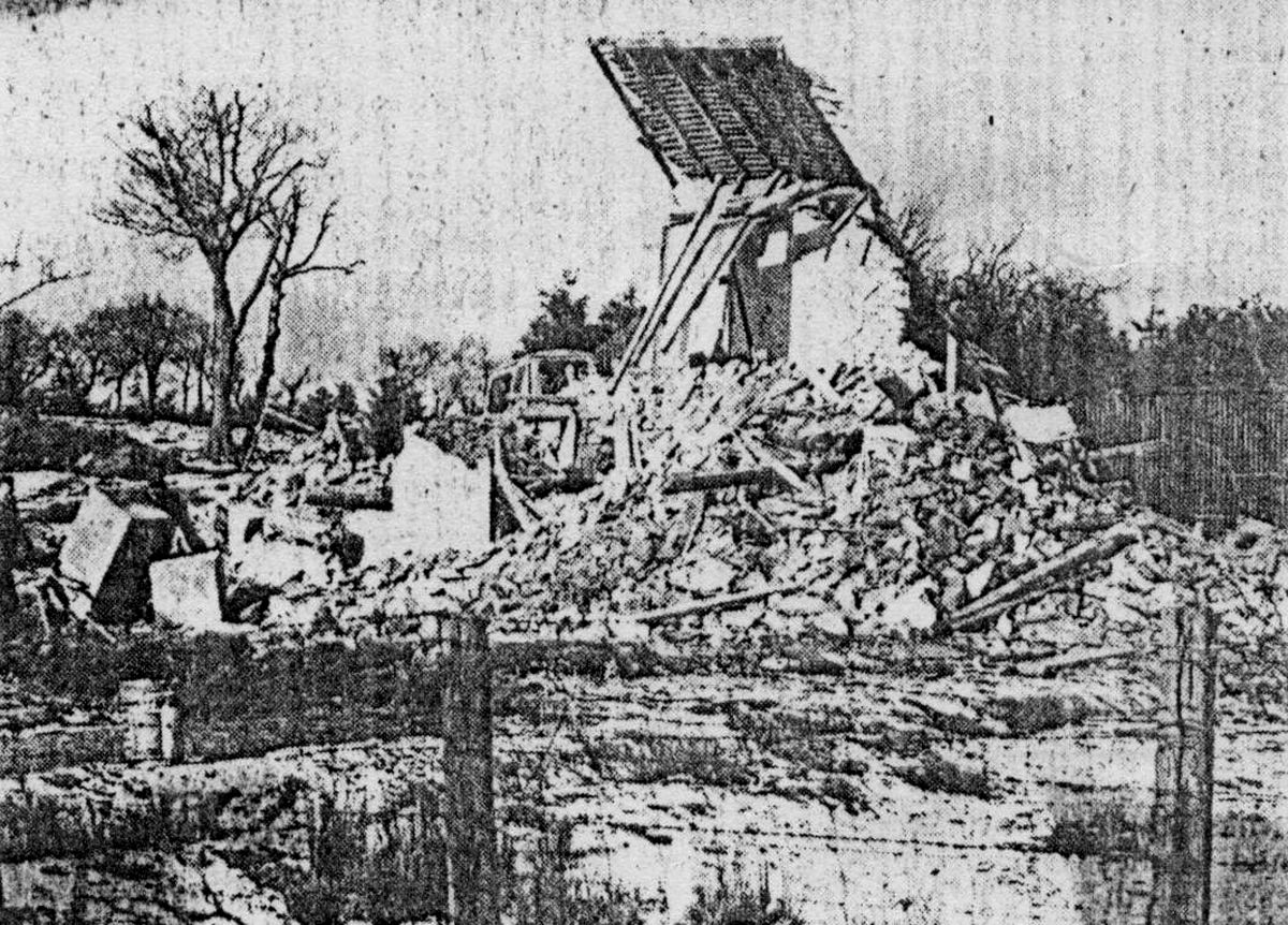 A poor quality but possibly unique picture taken at the time of the April 1970 demolition.