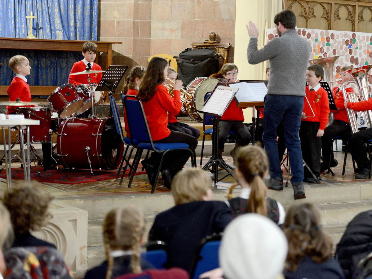BORDER  ALAN FOGARASY COPYRIGHT EXPRESS & STAR 02/02/18.Schools taking part in the Oswestry Youth Music Festival which took place at Holy Trinity.  Porthywaen Junior Ensemble made up of various schools.