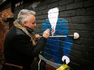 Mark Whittle's Captain Tom mural is progressing well