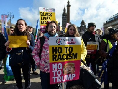 Protesters in Glasgow march against racism