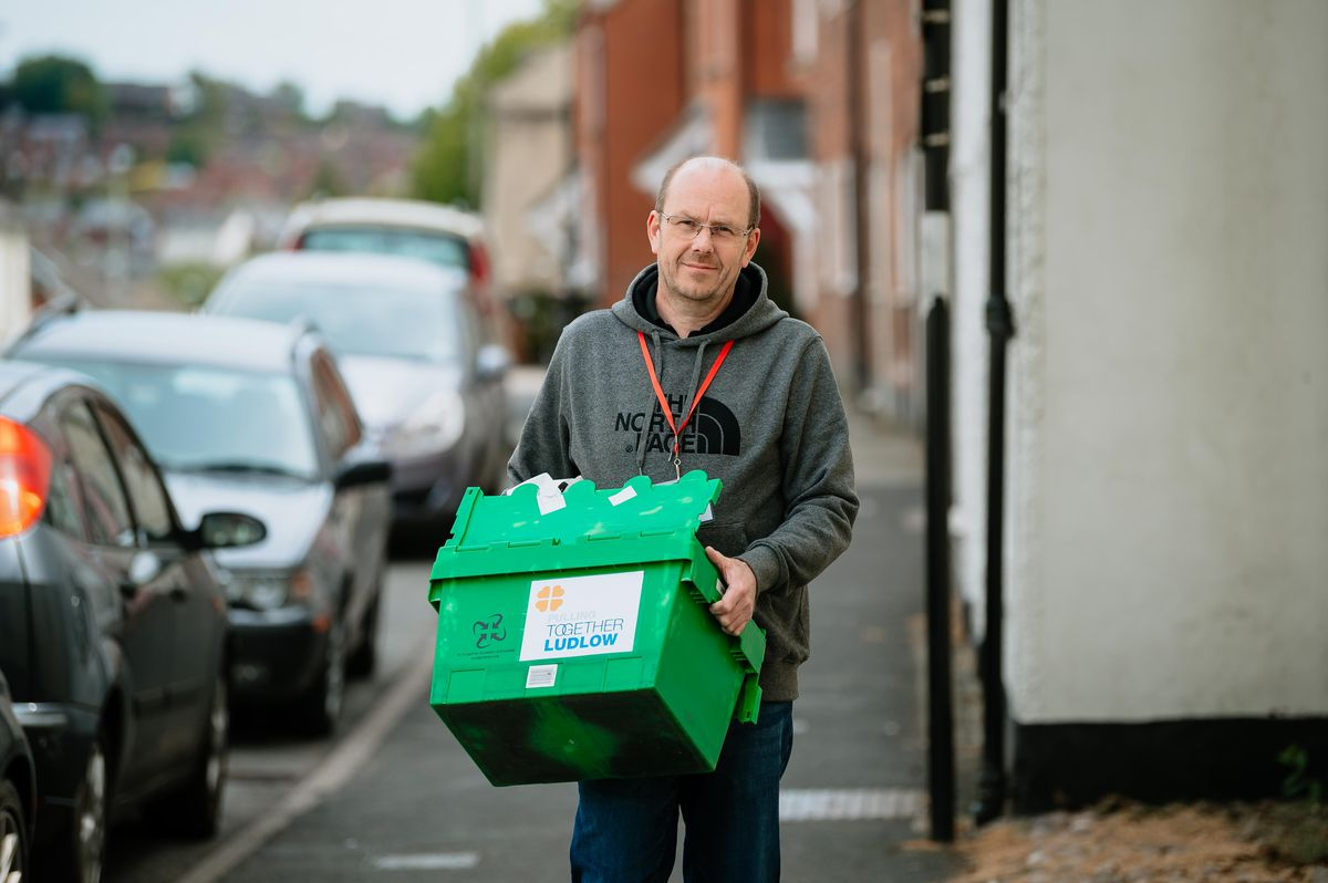 Andrew Moody making a delivery for Pulling Together Ludlow