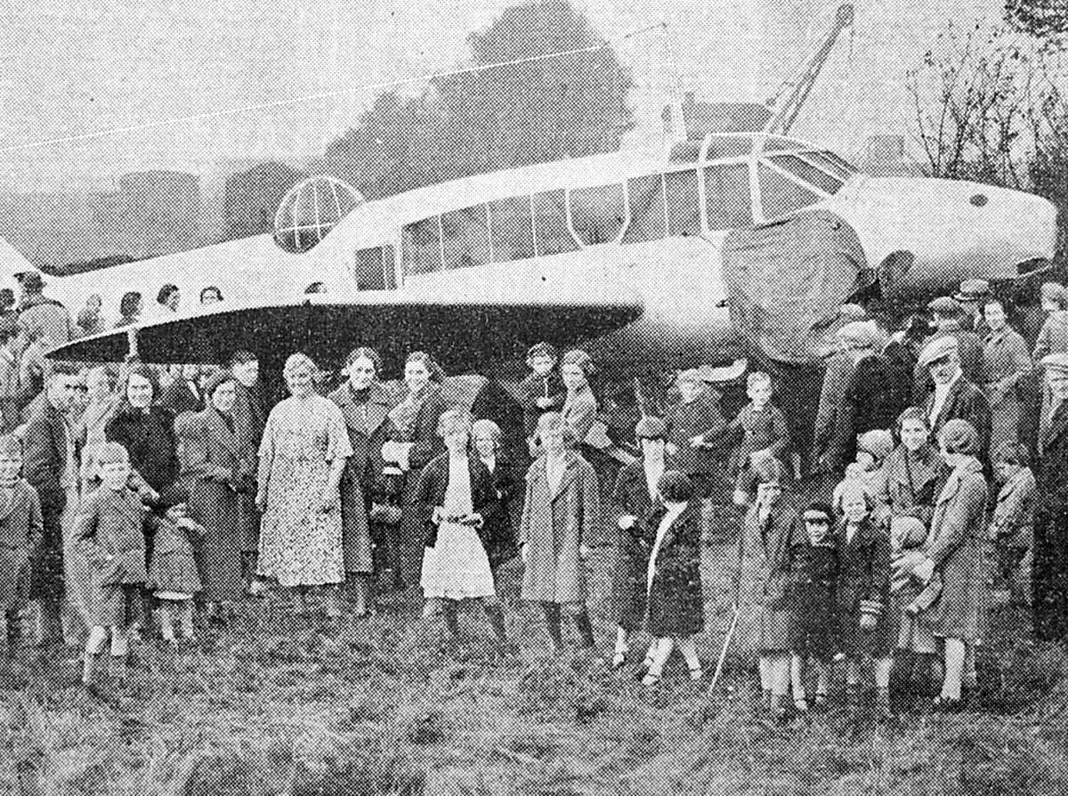 John Latham was there when this Avro Anson took off after force landing in Donnington in October 1938.