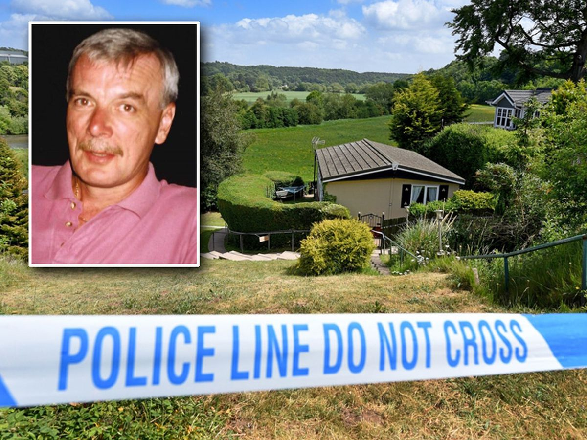 Kevin Davies, inset, died after being stabbed at Knowle Sands Caravan Park, in Bridgnorth, main