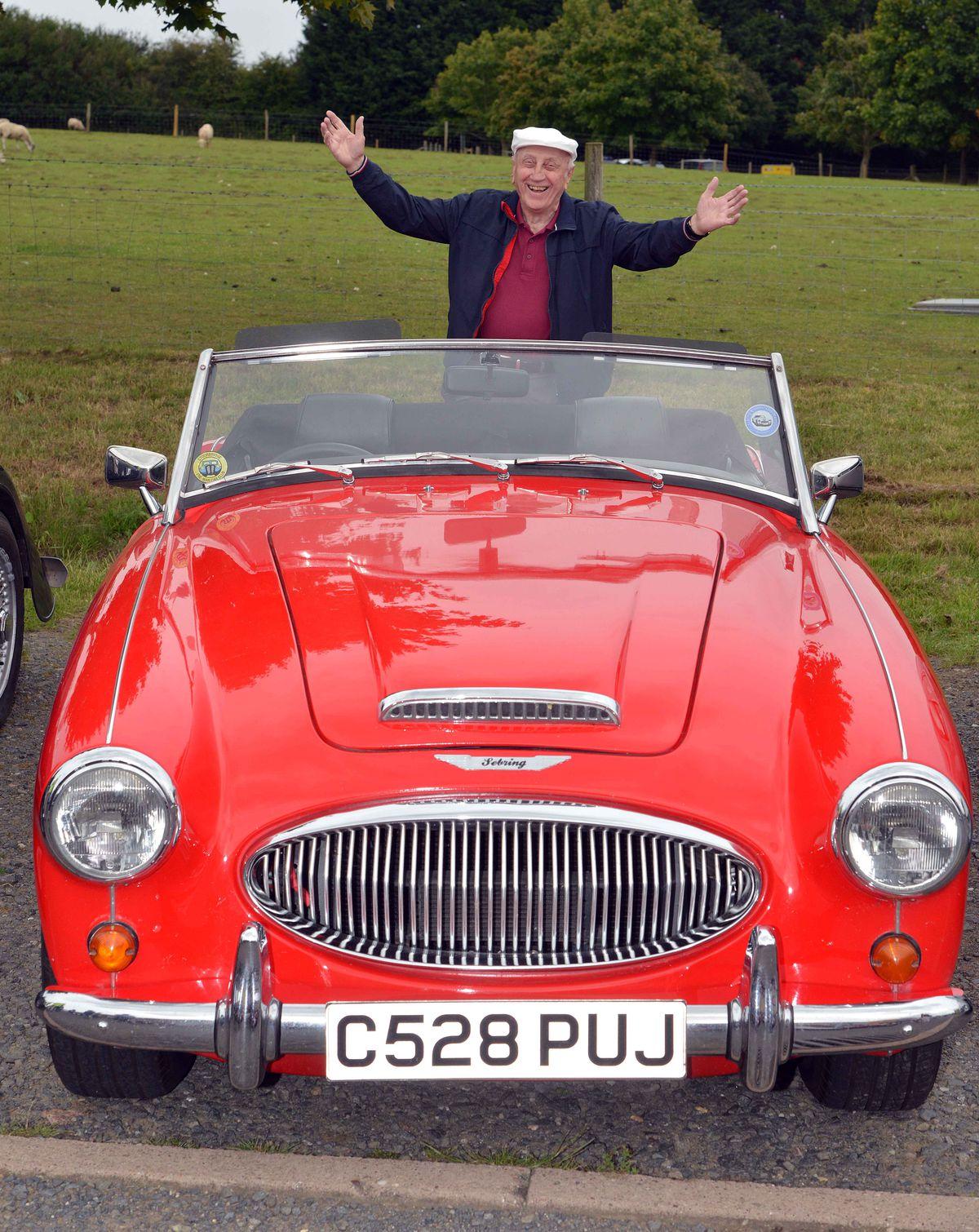 Arthur Wood in his replica Austin Healey 300 sports car