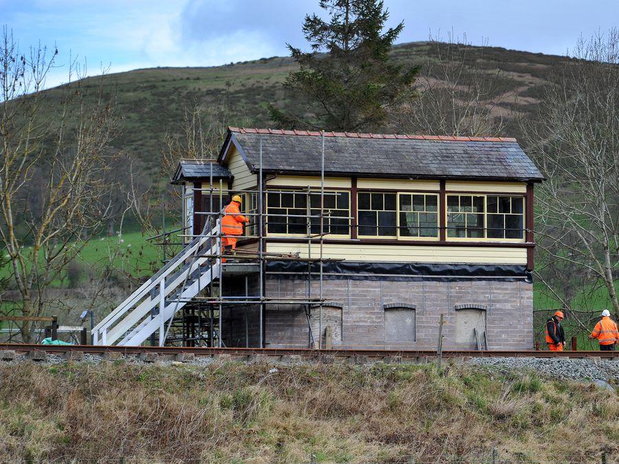 The signal box at Corwen Station, which was originally at Weston Rhyn