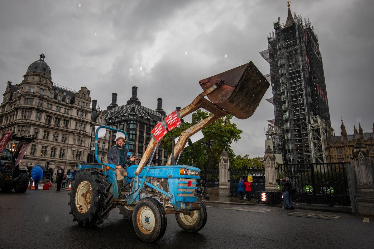 Farmers in tractors take part in a protest over food and farming standards, organised by Save British Farming (SBF), in Westminster, London