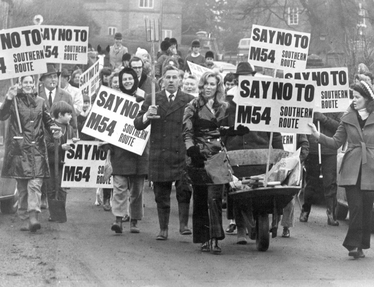 Protesters against the southern route of the M54 motorway walk through Tong in February 1972. There were protests elsewhere against the northern route.