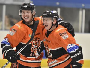 Telford Tigers in action against Peterbrough Phantoms (Photo: Steve Brodie)