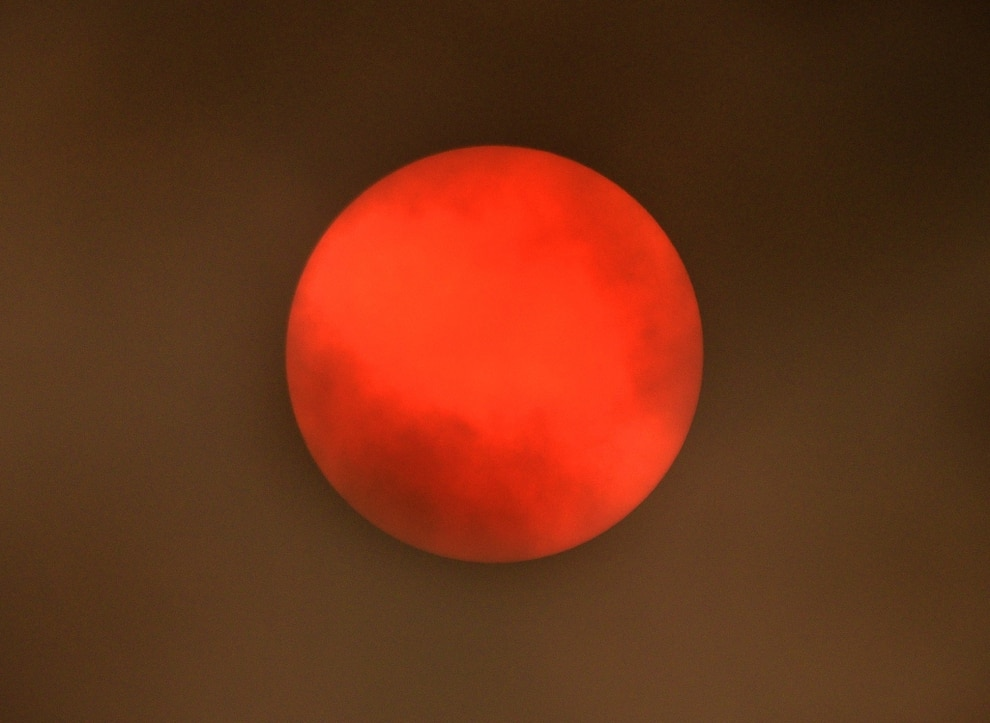 Storm Ophelia Strange Red Sun Snapped Over Shropshire