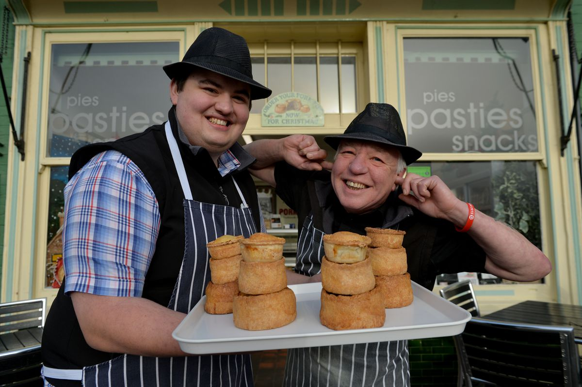 Time to say 'pie-pie': Tom Eley and Mick Hill from Eley's Pork Pies in Ironbridge, ready for the demolition which is scheduled to take place on Friday at 11am