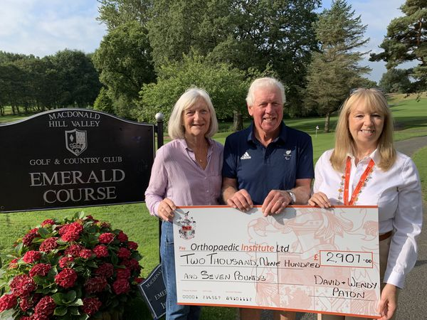 L-R: Wendy and David Paton, with Debra Alexander from the Orthopaedic Institute Charity