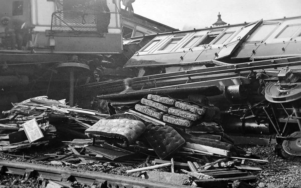 The train was left a tangled wreck close to Shrewsbury railway station