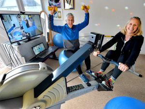 Jim and Sally Mostyn have been running fitness sessions online for more than 130 people each week