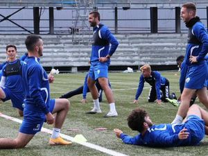 The New Saints players warm up to face B36 Torshavn in the Faroe Islands Pic: Brian Jones