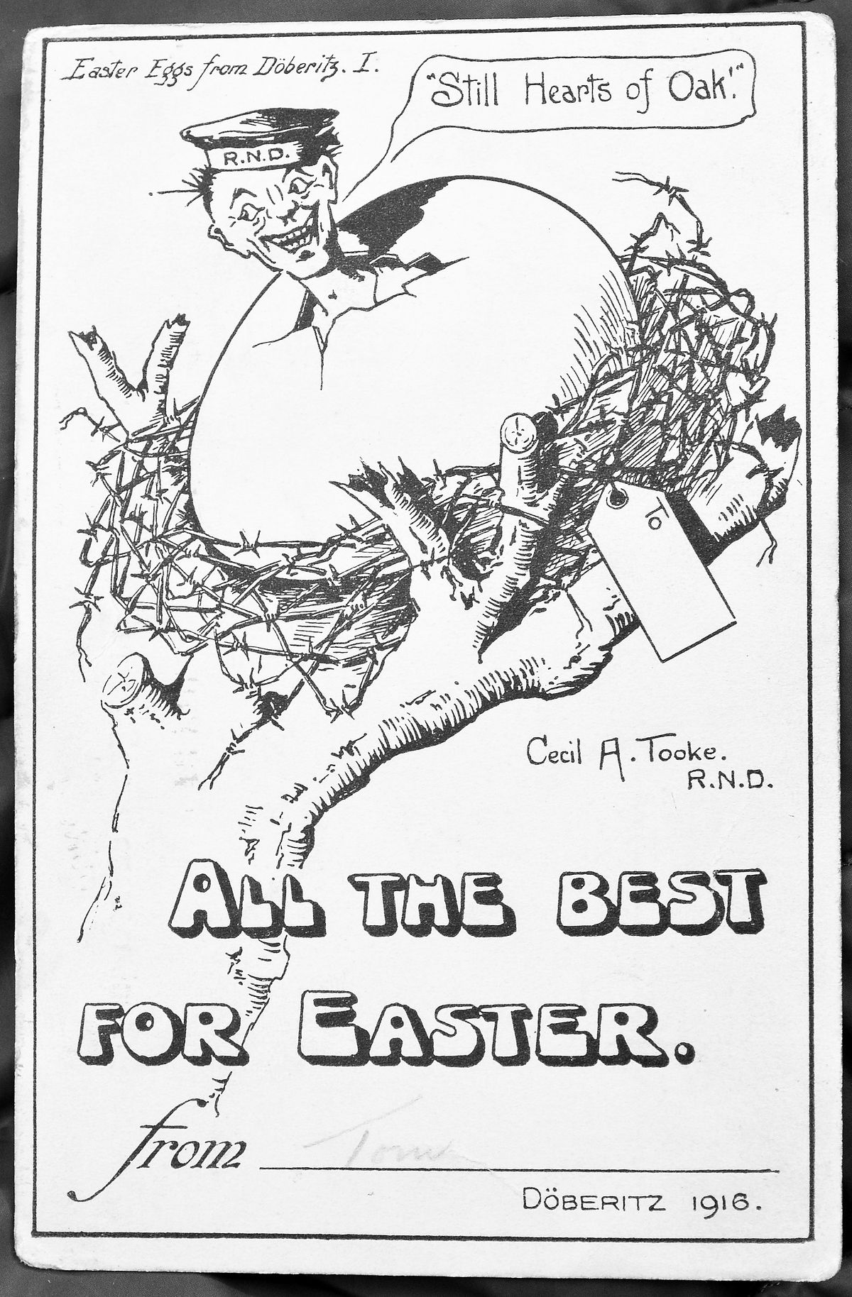 A pen and ink design by one of the prisoners for Easter 1916 which Mrs Conboy thinks includes disguised V for Victory signs.