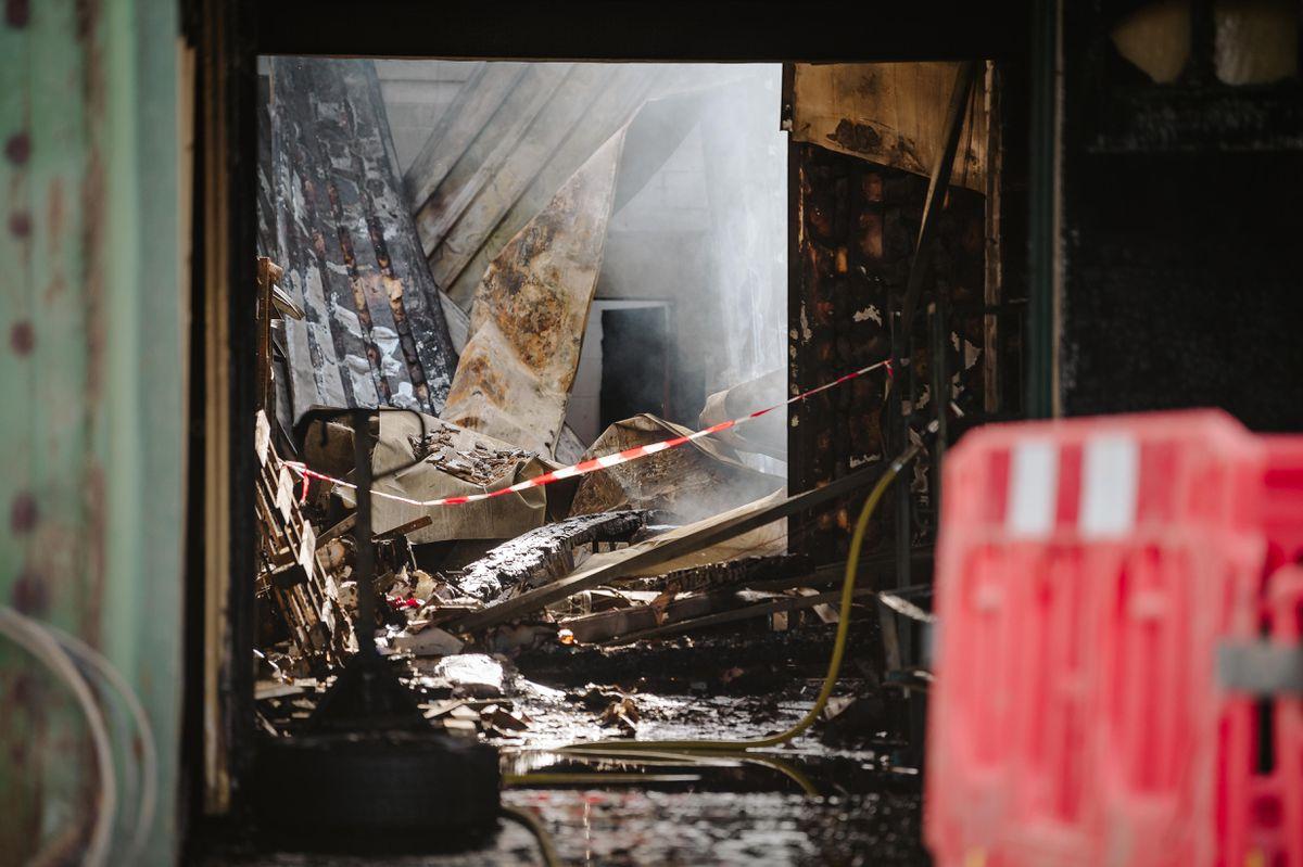 Aftermath photos of a fire Wem Business Park