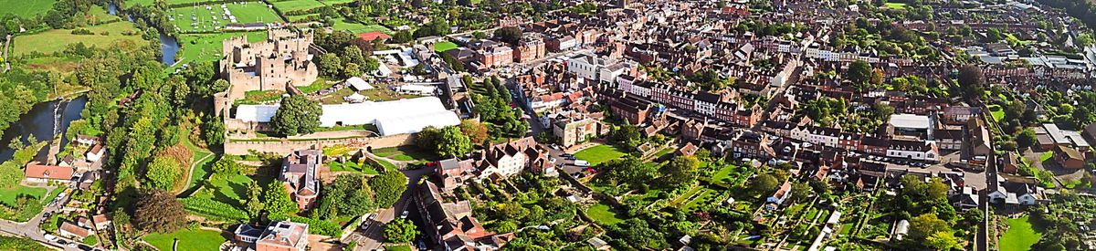 The reason for the positioning of Ludlow's Medieval castle is clear in this image, offering protection to the town as it grew around the fortifications