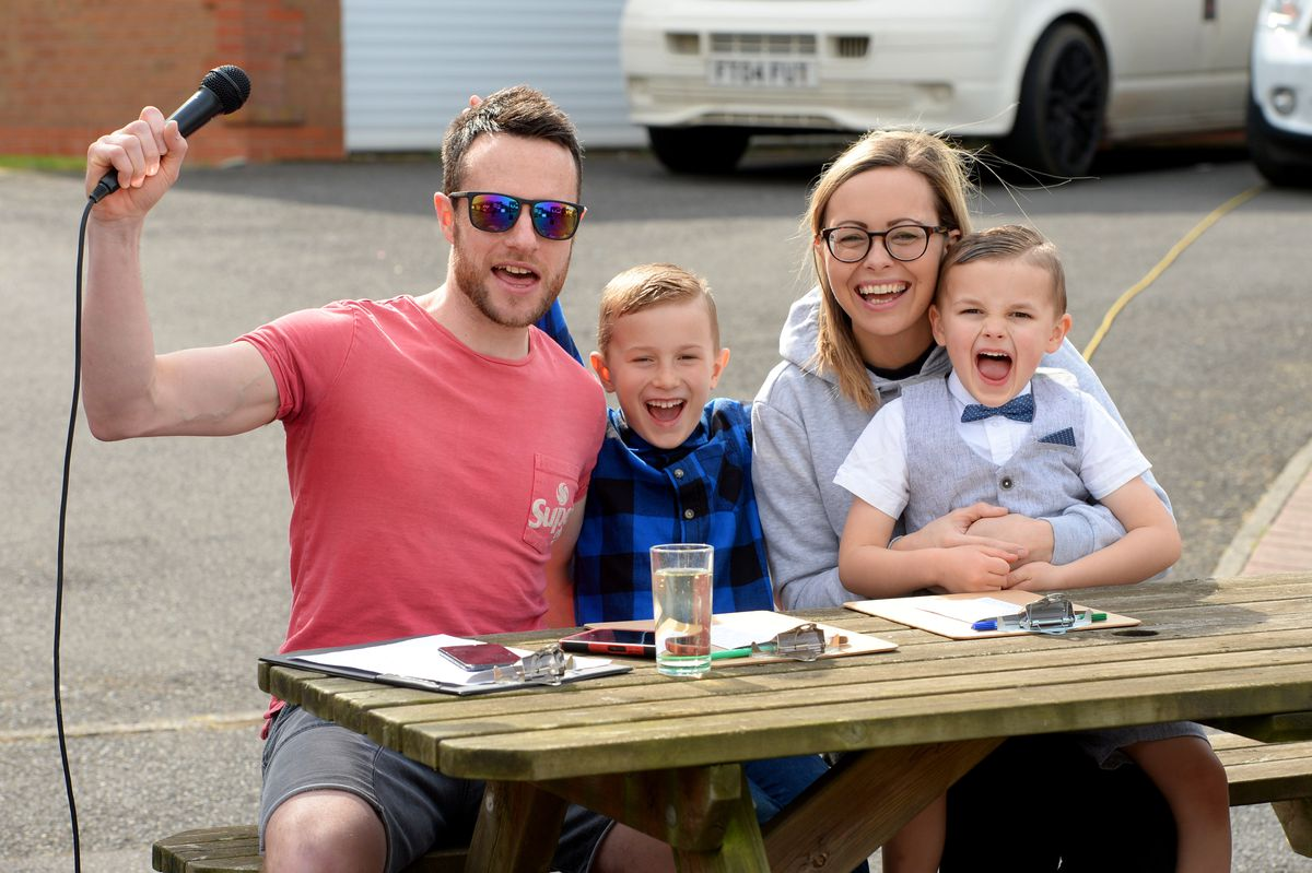 Craig Slow with his wife Kerry and their children William, seven, and Charlie, four