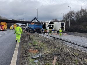 The central reservation barrier was ripped away by the force of the collision. Image: Highways England