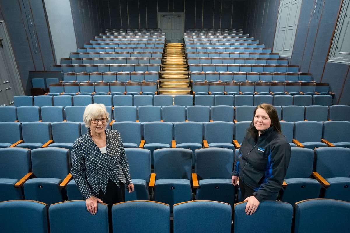 CEO Helen Hughes and Pave Aways' Commercial Director Victoria Lawson in the auditorium at the Assembly Rooms