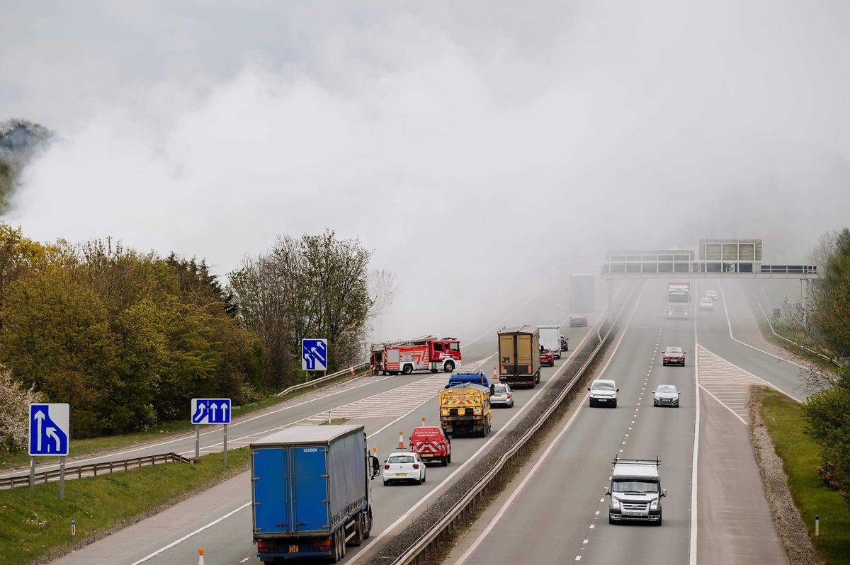 Smoke continues to billow across the M54 on Tuesday morning