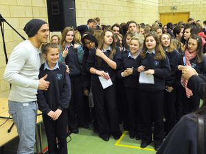 LAST WITH STORY AND VIDEO: X Factor contestant Joseph Whelan visited the Charlton School in Wellington to sing for pupils and answer questions and have his photo taken. PIC BY ANDY CUNNINGHAM: 8/1/13